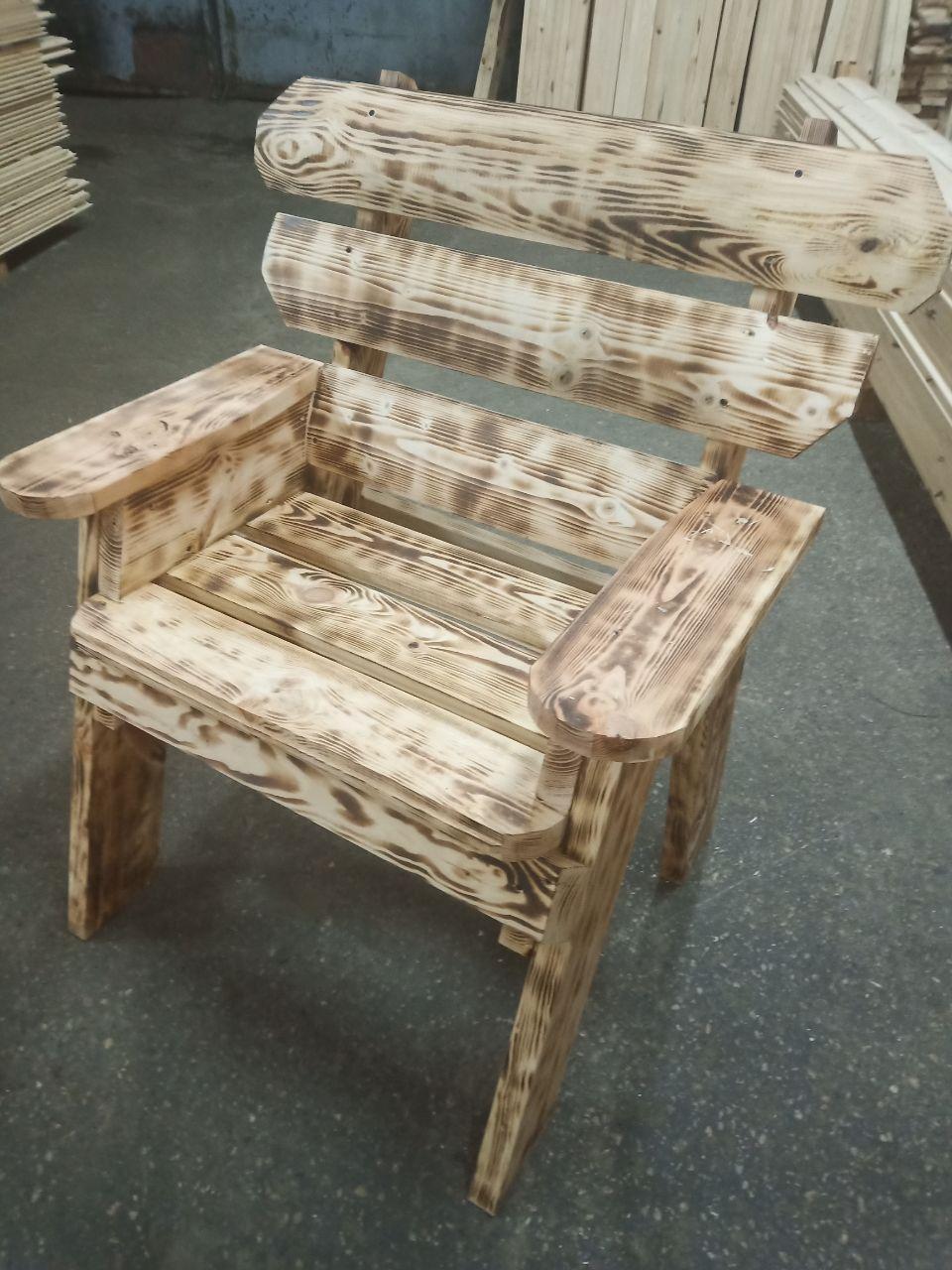 Кресло садовое со спинкой и подлокотниками, сосна